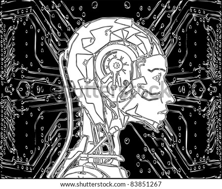 Android Reveals Internal Technology Of Their Electrical Circuit Vector 15 - stock vector