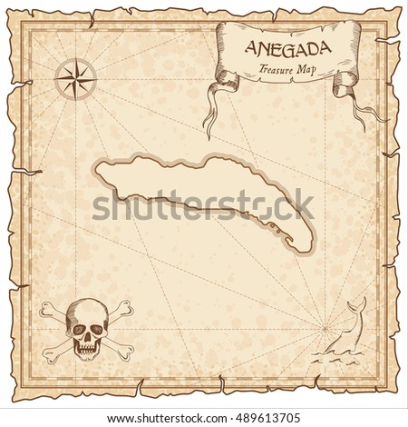 Anegada old pirate map. Sepia engraved parchment template of treasure island. Stylized manuscript on vintage paper.