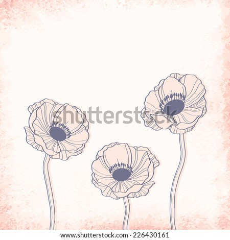Anemone outline drawing. Elegant vector background - stock vector