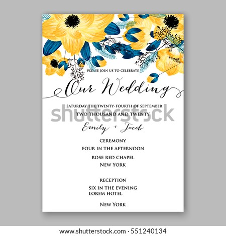 Anemone Wedding Invitation Card Template Floral Stock Vector