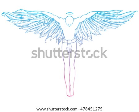 Man with wings stock images royalty free images vectors for Thin line tattoo artists near me