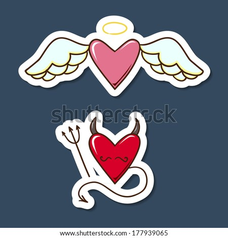 Angel and demon hearts. Paper sticker imitation. Vector card concept. Romantic tender design - stock vector