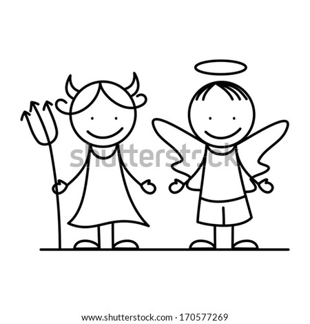 Angel and devil - stock vector