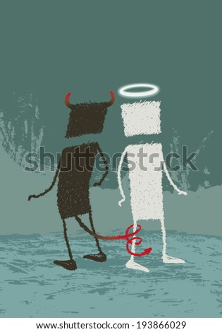 Angel and devil. An illustration of good and evil, about temptation ... EPS8 Illustration. - stock vector