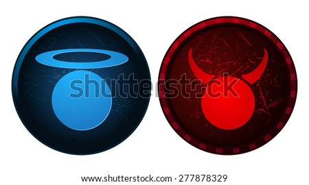 Angel and Devil Blue and Red Button Grunge Signs, Vector Illustration. - stock vector