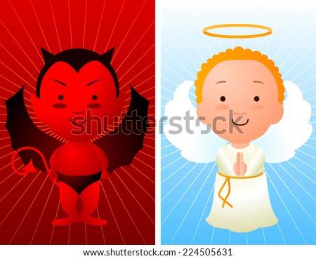 Angel and devil cartoon - stock vector