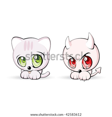 Angel and devil cats - stock vector