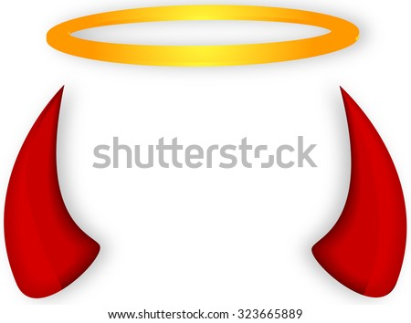 Angel and devil horns halo - stock vector