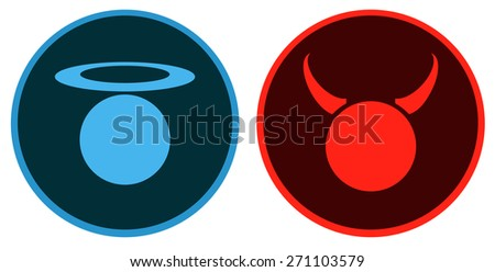 Angel and Devil Round Signs, Vector Illustration.  - stock vector