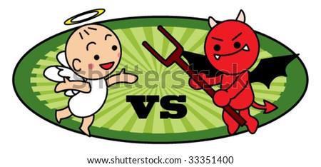 angel and evil fighting - stock vector