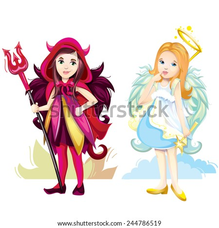 Angel and imp girls - stock vector