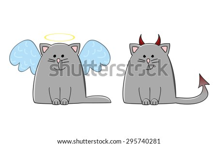 angel cat and devil cat vector illustration - stock vector