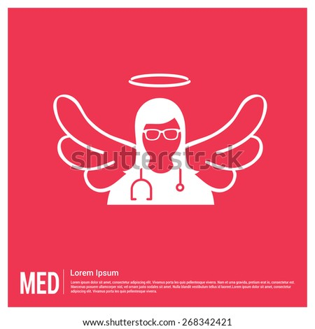 Angel Doctor Medical Health Concept design template. nurse with wings flat icon on pink background. healthcare icon. doctor Sargon icon - stock vector