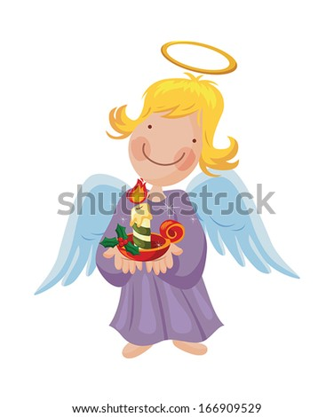 Angel girl holding a Christmas burning candle in her hand - stock vector