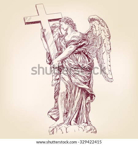 angel holding a cross hand drawn vector llustration realistic sketch - stock vector