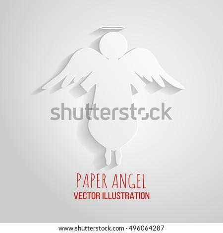 Angel Icon Paper Angel On White Stock Vector 496064287 - Shutterstock