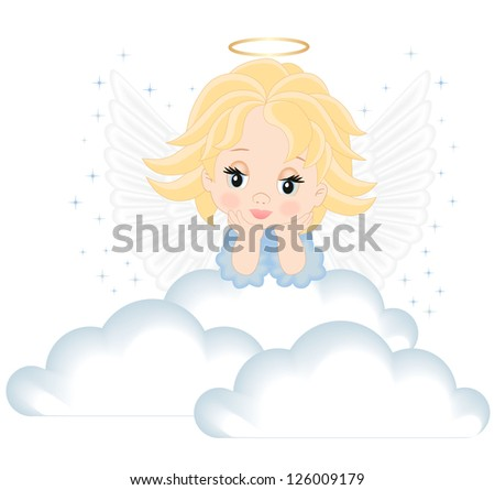 angel in white clouds - stock vector