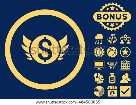 Angel Investment icon with bonus symbols. Vector illustration style is flat iconic symbols, yellow color, blue background.