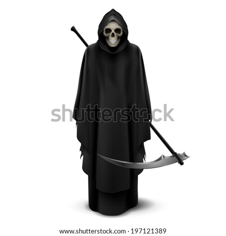 Angel of death with a scythe in his hands on white background. - stock vector