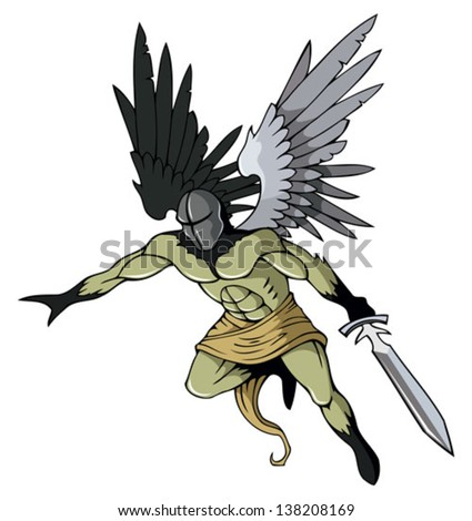 Angel of death with sword, flying, vector illustration - stock vector