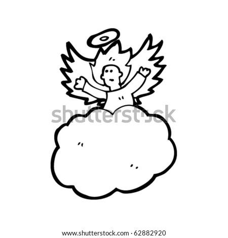 angel on cloud cartoon - stock vector