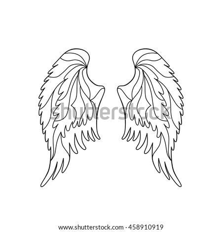 angel or bird wings silhouette vector illustration isolated on white background coloring book page - Coloring Book Angels