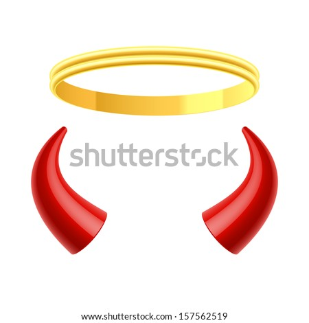 Angel's halo and devil's horns. Vector. - stock vector