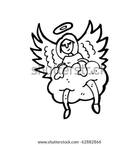 Angel sitting in cloud cartoon - stock vector