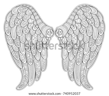 Angel Wings Zentangle Style Tatoo Tshirt Stock Vector 740952037 ...