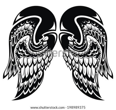 Angel wings.Tattoo wings - stock vector