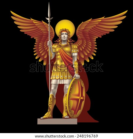 Angel with spear color on a black background - stock vector