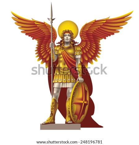 Angel with spear color on a white background - stock vector