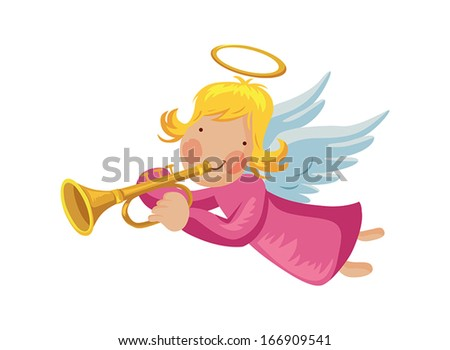 Angel with trumpet and halo - stock vector