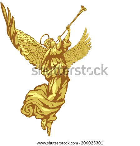 Angel with trumpet in three colors on white background - stock vector