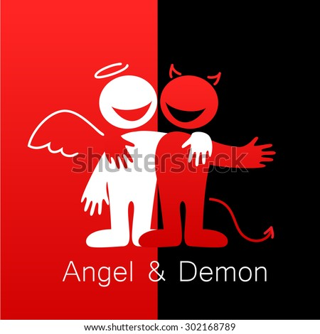 Angels and Demons - symbols of good and evil. - stock vector
