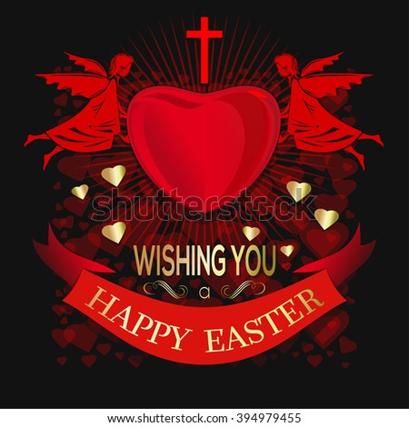 Angels are holding big red heart. Wishing You a Happy Easter. Greeting inscription on the background of red hearts. Greeting card for Easter. Happy Easter. Vector editable illustration - stock vector