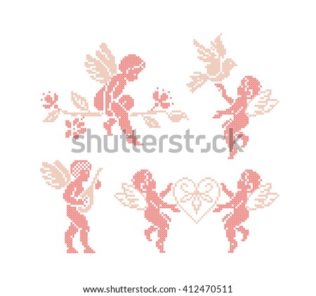 Angels. Cupid. Cross stitch. Vector set. Embroidery. - stock vector