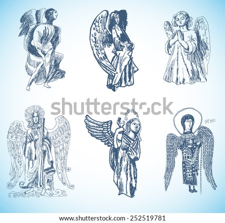 Angels.Ink and pen hand drawing,Vector set - stock vector