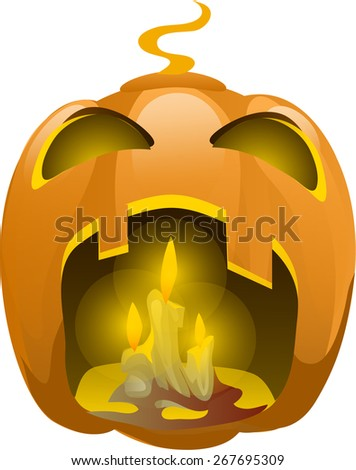 anger pumpkins with candles in your mouth  - stock vector