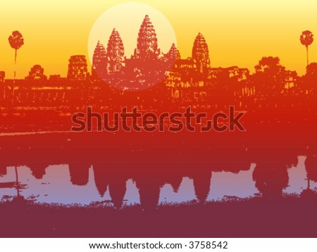 angkor wat in sunset (vector) - illustrated scenery of an ancient ruin - stock vector