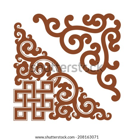 Angle Decoration of Chinese traditional style,design elements.  - stock vector