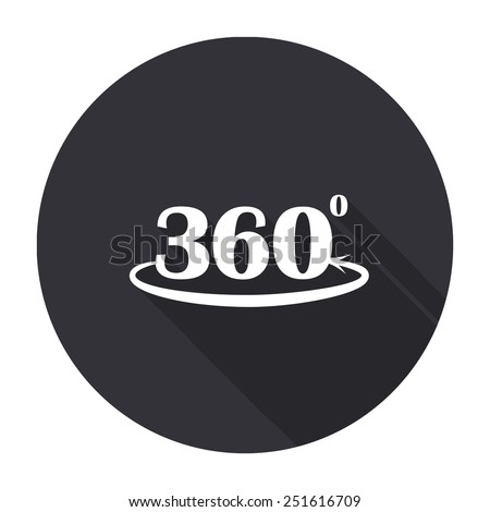 angle 260 degrees icon with long shadow - vector round button