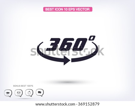 Angle 360 degrees sign icon - stock vector