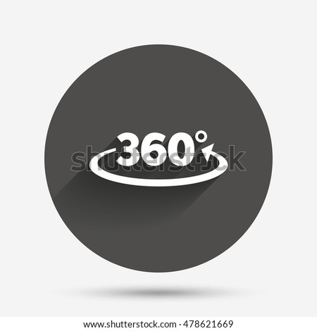 Angle 360 degrees sign icon. Geometry math symbol. Full rotation. Circle flat button with shadow. Vector