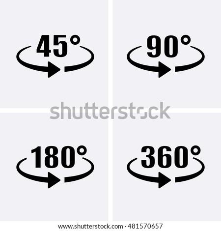 Angle 45 90 180 360 Degrees Stock Vector 481570657 Shutterstock