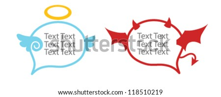 Angle - Devil  Speech Balloon - stock vector