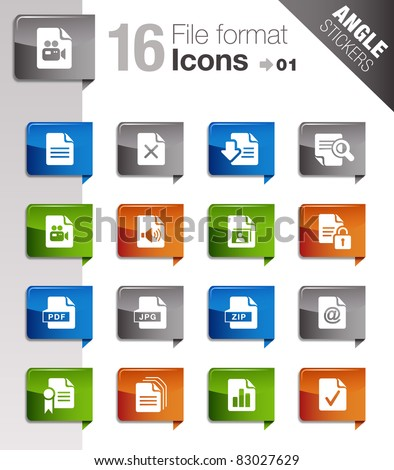 Angle Stickers - File format icons - stock vector