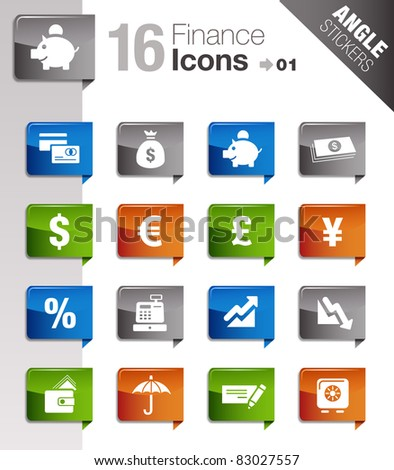 Angle Stickers - Finance icons - stock vector