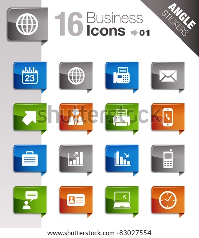 Angle Stickers - Office and Business icons - stock vector