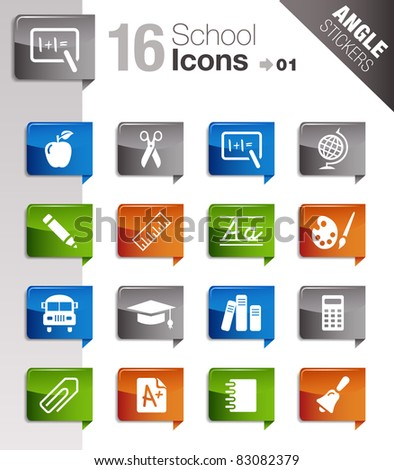 Angle Stickers - School Icons - stock vector